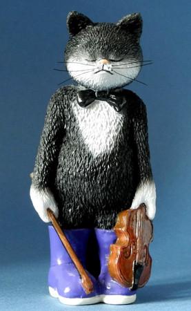 "9 LIVES - 02 ""MUSIK - KATZE"" Comic Art Katze als perfekte Orchester - Skulptur"