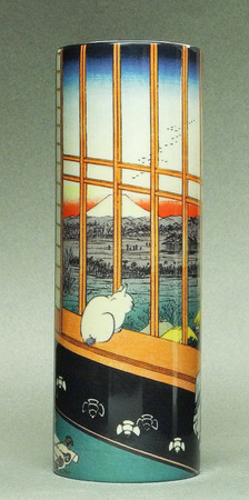 Utagawa Hiroshige - View of Edo Nr. 101 - Cat sees MT. Fuji - Museumsvase