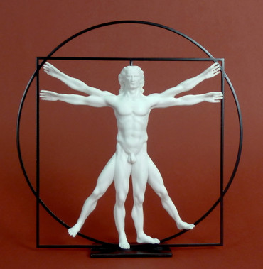 Der vitruvianische Mensch -M- LEONARDO DA VINCI Skulptur DAV01 weiß