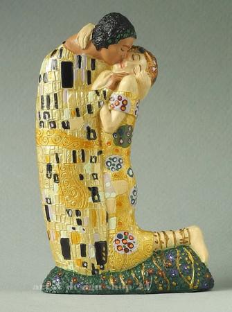 """GUSTAV KLIMT - Figur - """"Der Kuss - Le Baiser"""" - Skulptur in Geschenkkarton  – Bild 1"""