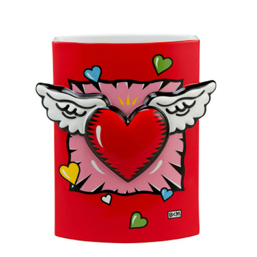 "BURTON MORRIS - POP ART aus USA - Skulptur - ""Wings of Love"" - stylische Vase"