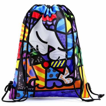 "ROMERO BRITTO - POP ART KUNST aus Miami ""SPORT BAG - HAPPY CAT"" Shopper Bag   – Bild 1"
