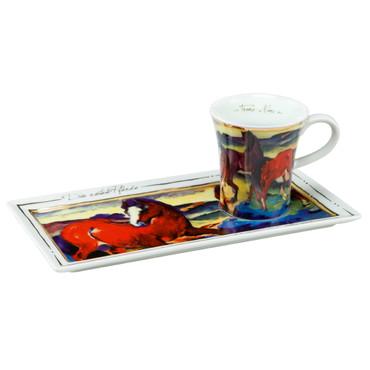 "GOEBEL PORZELLAN - Kunst & Kaffee Espresso ""Franz Marc - DIE ROTEN PFERDE"" NEU"