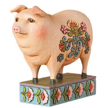 """Heartwood Creek – Folk Pig Figurine - """"In Hog Heaven"""""""