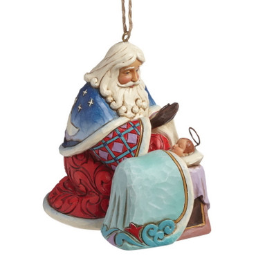 Heartwood Creek – Hanging Ornament – Santa Blue with Baby Jesus – Bild 1