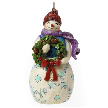 Heartwood Creek – Hanging Ornament – Snowman with Wreath