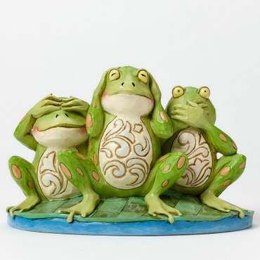 "Heartwood Creek – Frog Figurine covering eyes, ears and mouth - ""See no Evil, Hear no Evil, Croak no Evil"" – Bild 1"