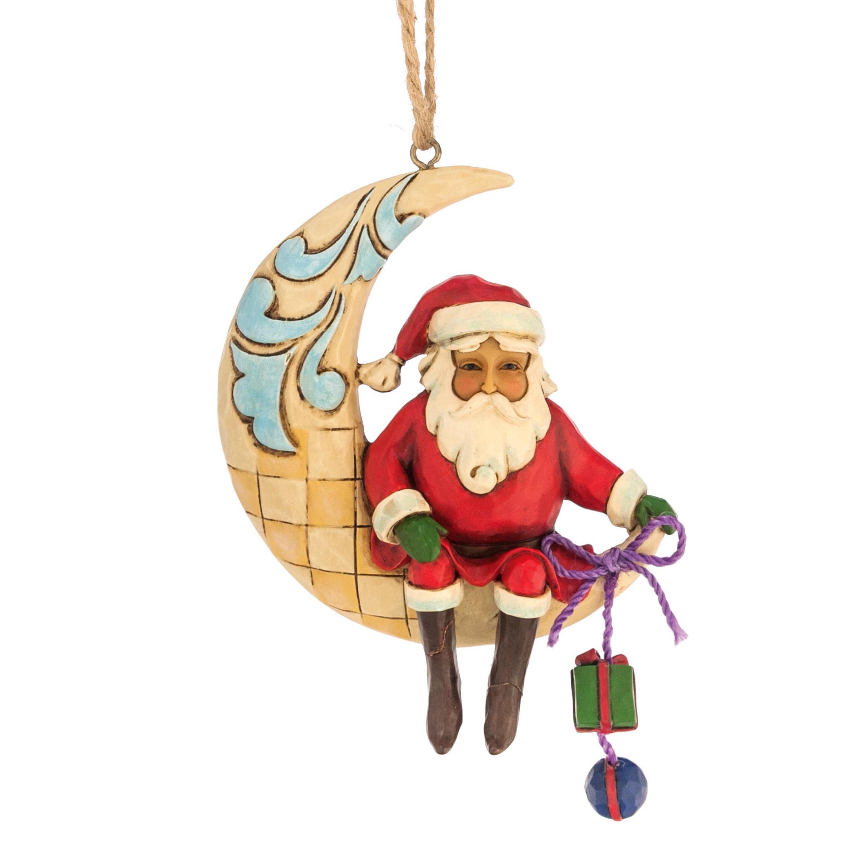 enesco christmas hanging ornament crescent moon santa. Black Bedroom Furniture Sets. Home Design Ideas
