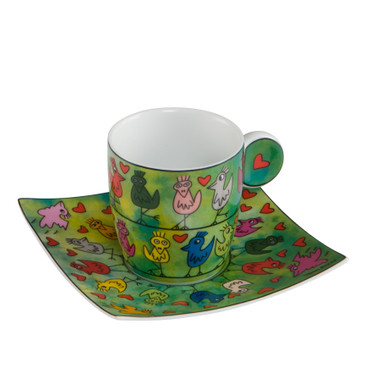 "JAMES RIZZI - Goebel Porzellan - Espresso Set - ""Birds on a Love Wire"""