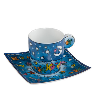 "JAMES RIZZI - Goebel Porzellan Espresso Set - ""The Moon, the Stars and the Fish"""