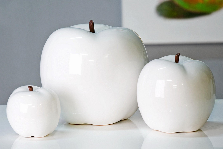 casablanca deko art skulptur apple c 26cm keramik figur apfel weiss neu ebay. Black Bedroom Furniture Sets. Home Design Ideas
