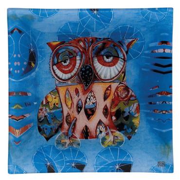 Owl Glass Plate 20cm