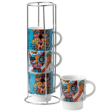 Cat&Owl Stackable Mugs
