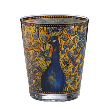 """Artis Orbis GOEBEL PORZELLAN - Louis Comfort Tiffany """"Pfau"""" Windlicht Höhe 10 cm – Bild 1"""