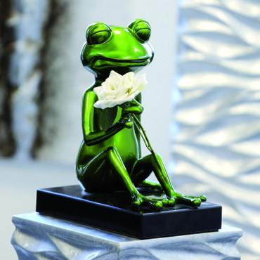 """Skulptur """"Frosch Erwin 2"""" grün metallic"""