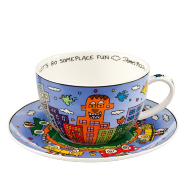 JAMES RIZZI POP ART - Goebel Porzellan - Cappuccino Tasse - Let's Go Out for Fun – Bild 1