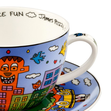 JAMES RIZZI POP ART - Goebel Porzellan - Cappuccino Tasse - Let's Go Out for Fun – Bild 2