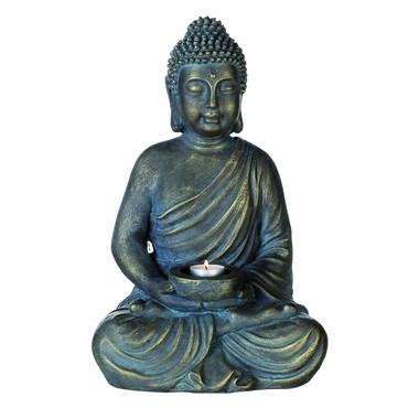 Skulptur Buddha mit Kerzenteller Magnesia 40.00 cm – Bild 1