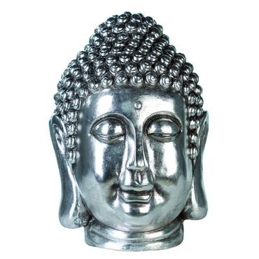 Skulptur Buddhakopf Magnesia Antik Silber 45.00 cm