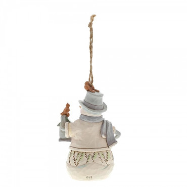 White Woodland Snowman with Birdhouse JIM SHORE Hanging Ornament 6001418 – Bild 2