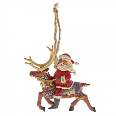 Santa Riding Reindeer JIM SHORE Hanging Ornament 4058816 – Bild 1