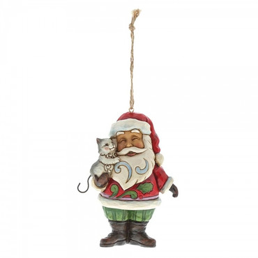 Mini Santa with Cat JIM SHORE Hanging Ornament 4058824
