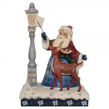 Santa by Lighted Lamppost JIM SHORE Figur 6000673