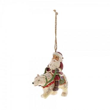 SANTA RIDING POLAR BEAR Hanging Ornament Jim Shore – Bild 1