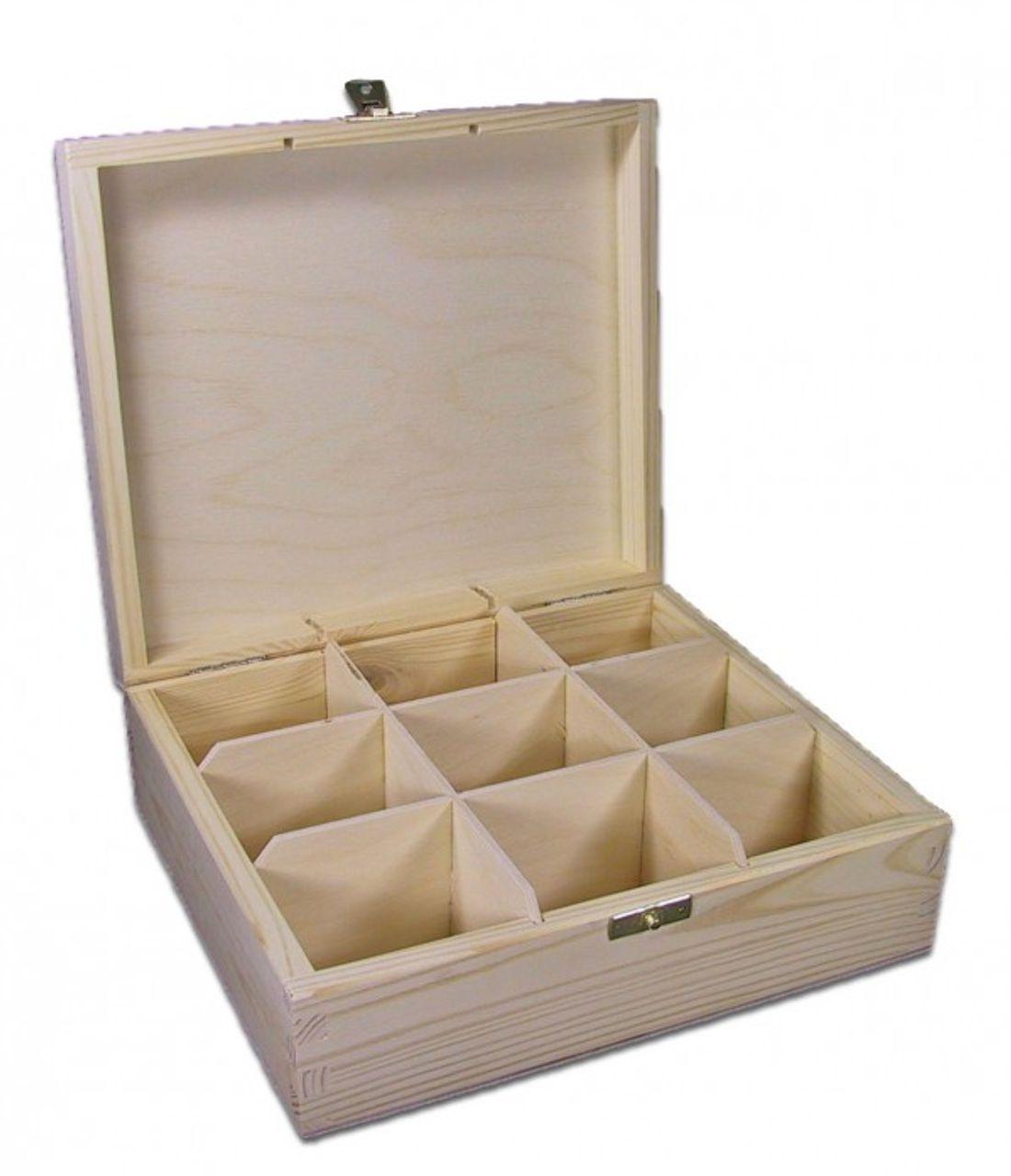 Teekiste, Teebox, Teebeutel-Box mit 9 Fächern Holz, Kiefer unbehandelt