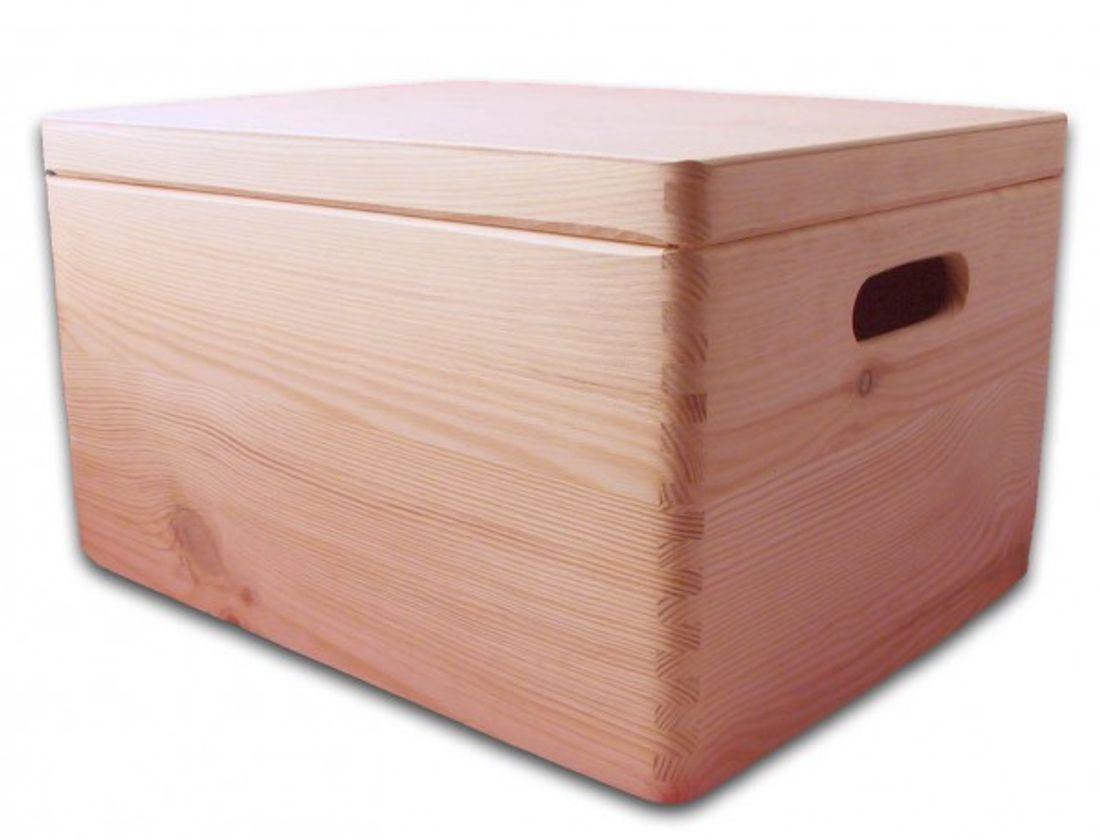 aufbewahrungsbox holzkiste mit deckel und griffl chern kiefer gr 3 aufbewahrungsboxen aus. Black Bedroom Furniture Sets. Home Design Ideas