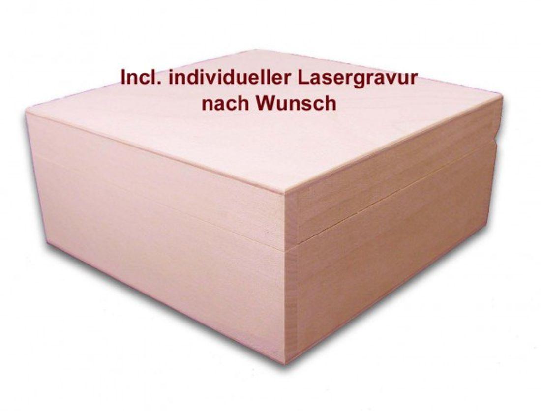 quadratische Holzbox, Aufbewahrungsbox, Holz-Schachtel, Linde incl. Lasergravur