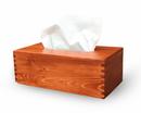 Kosmetiktuchspender, Kleenexbox Holz (Kiefer) mahagoni gebeizt incl. Lasergravur