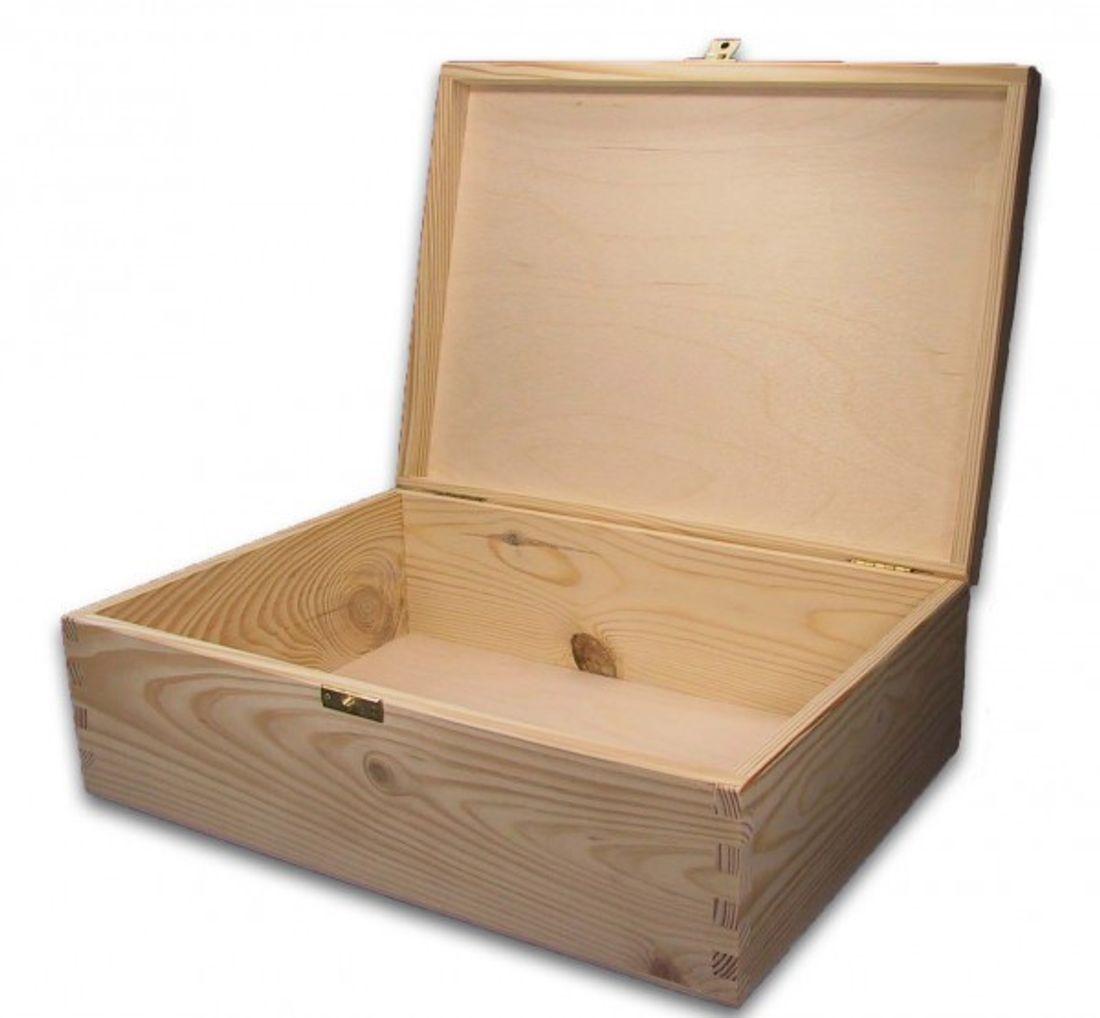 große Holz-Schatulle, Holz-Kassette, Holzbox, geeignet für A4, incl. Lasergravur