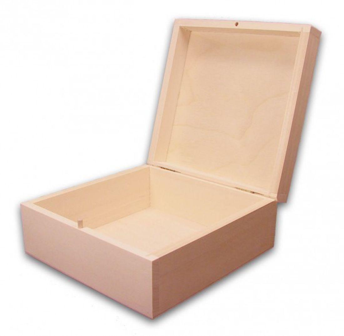 quadratische Weihnachts-Holz-Geschenkbox Linde unbeh., Auswahl-Lasergravur(q16)