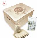 Adventskalender-Set Holzbox mit 24 Säckchen + Buttons incl. Lasergravur (A4)