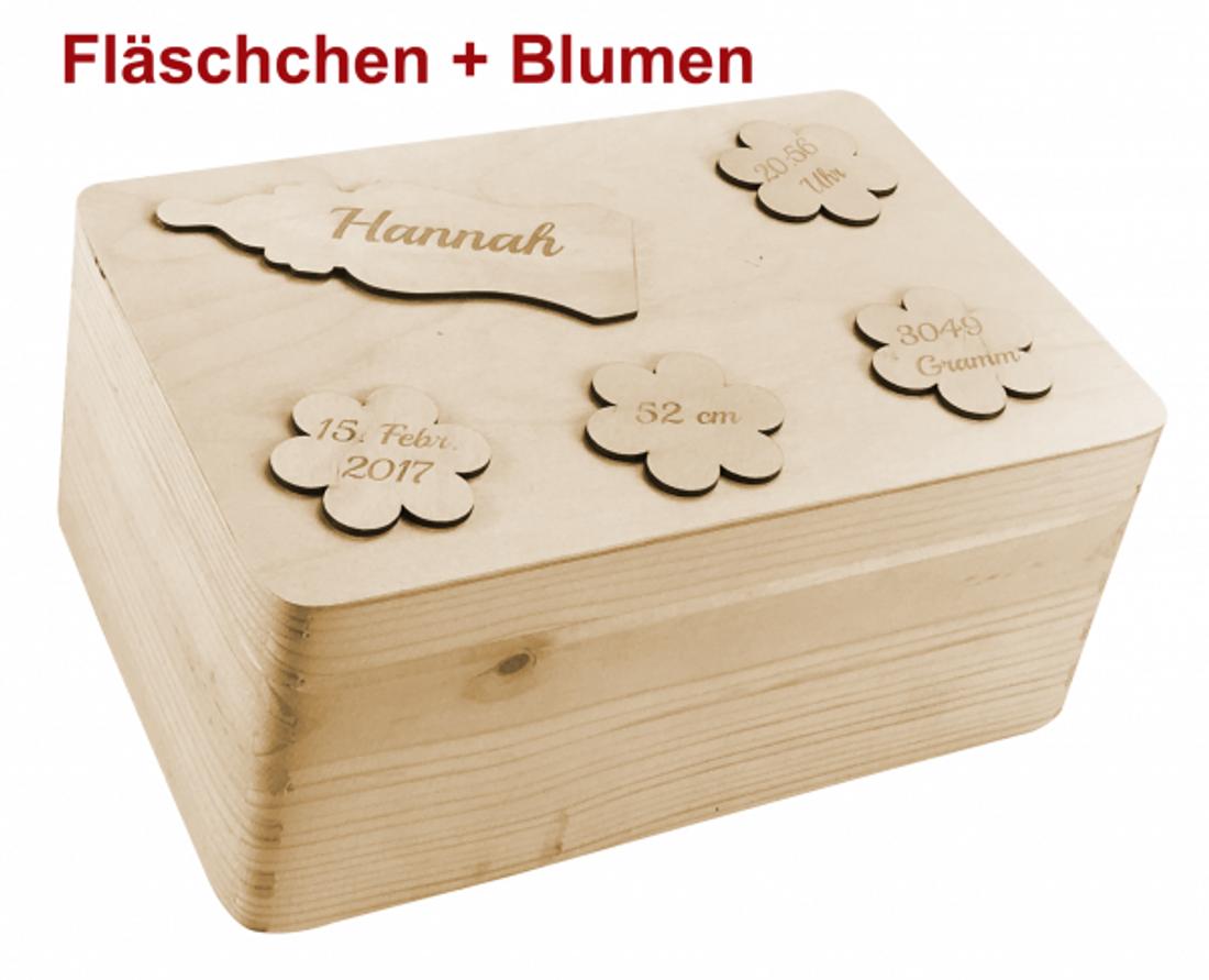 zur Geburt Holz-Geschenkbox Gr. 1 Kiefer incl.Applikationen n. Wahl(Kinderwagen)