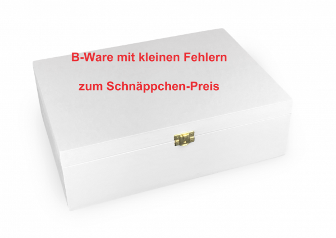 B-Ware Holz-Schatulle Holz-Kassette geeignet für A4, Kiefer, weiß lackiert