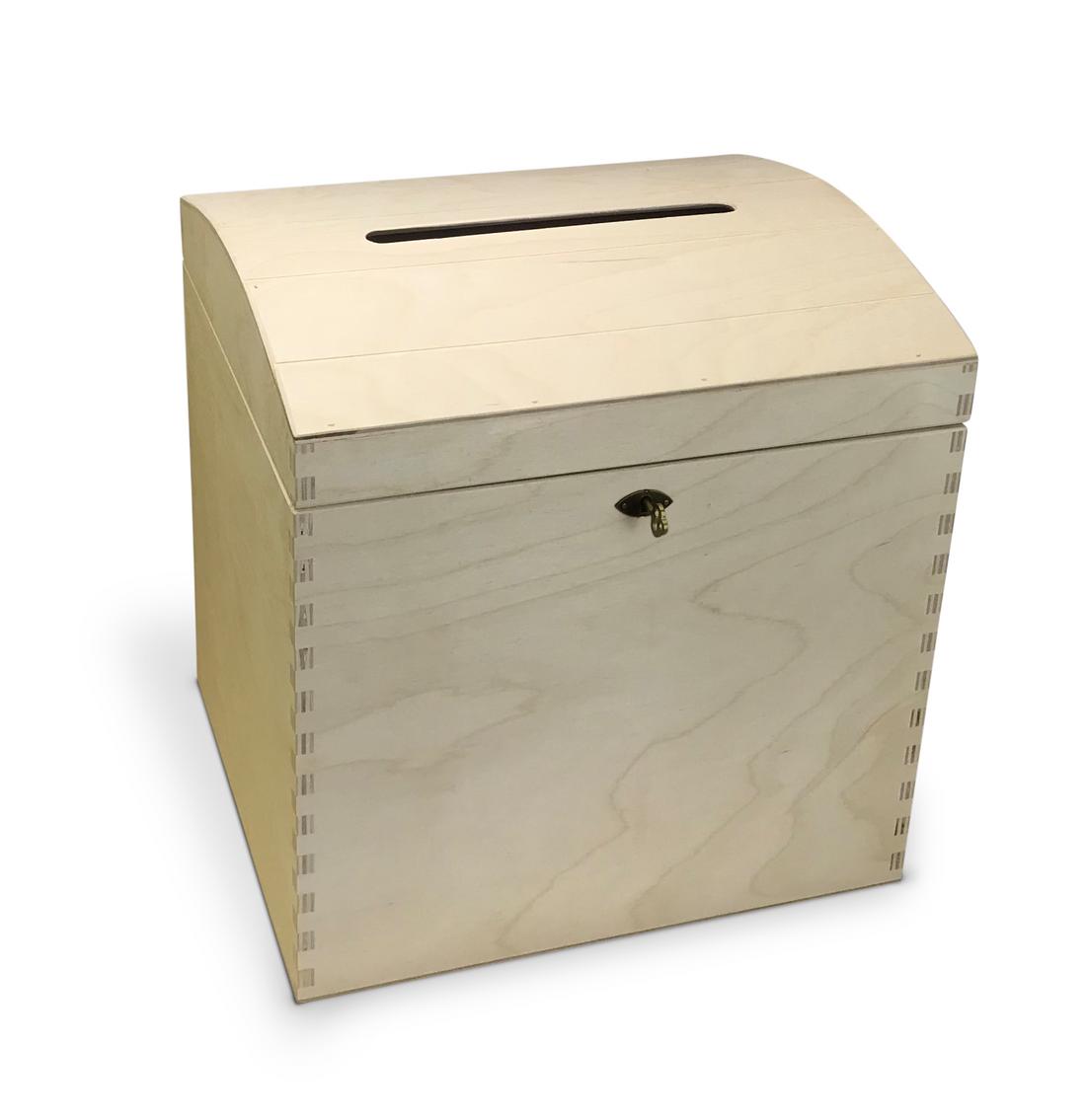 abschließbare Holz-Briefbox, Geschenkbox, Brief-Urne mit gewölbtem Deckel für Geldgeschenke und mehr