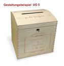 Große abschließb. Holz-Briefbox, gew. Deckel Hochzeit, incl. Lasergravur (UG5)