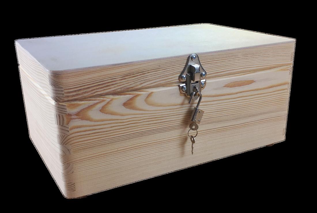 abschließbare Aufbewahrungsbox/ Holzkiste Gr. 1 Kiefer unbehandelt (Schloss 2)