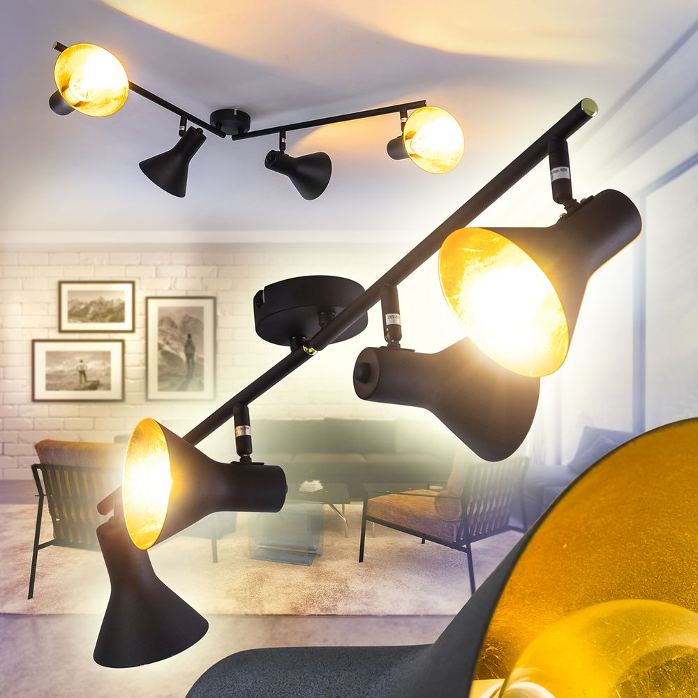 Design Deckenstrahler Dielen Flur Küchen Schwarz//Gold Lampen Schlaf Wohn Zimmer