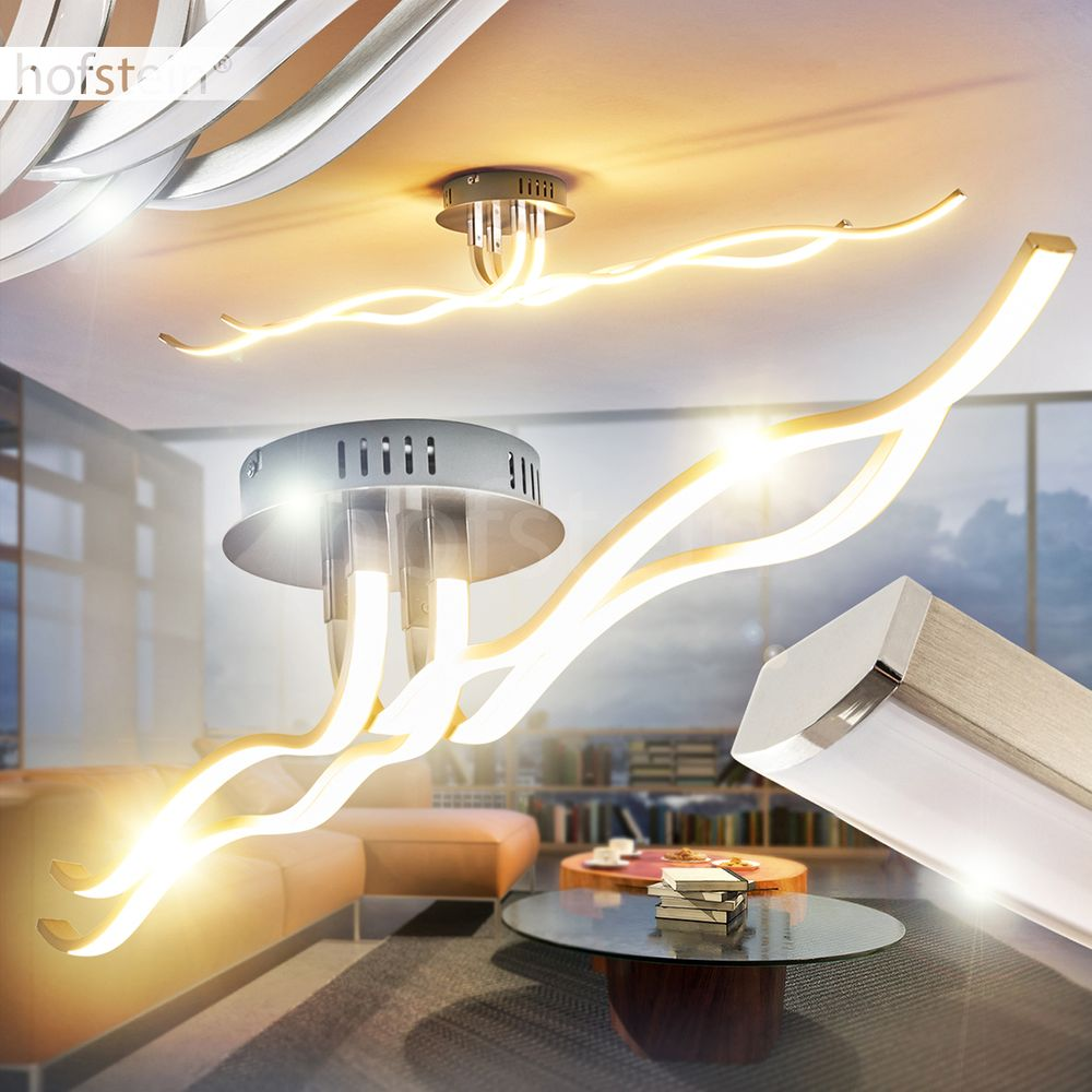 LED Design Decken Lampe Flur Dielen Leuchten Wellen Wohn Schlaf Raum Beleuchtung