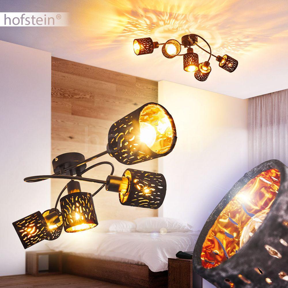 Flur Decken Leuchte Samt schwarz//gold Retro Wohn Schlaf Raum Beleuchtung drehbar