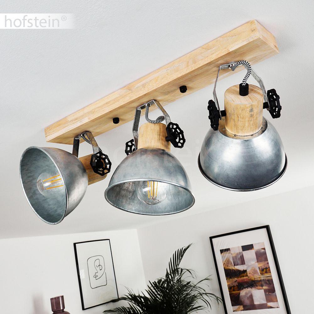 Retro Flur Strahler Holz//Zink Decken Lampe 3-flammig Wohn Schlaf Zimmer Leuchten