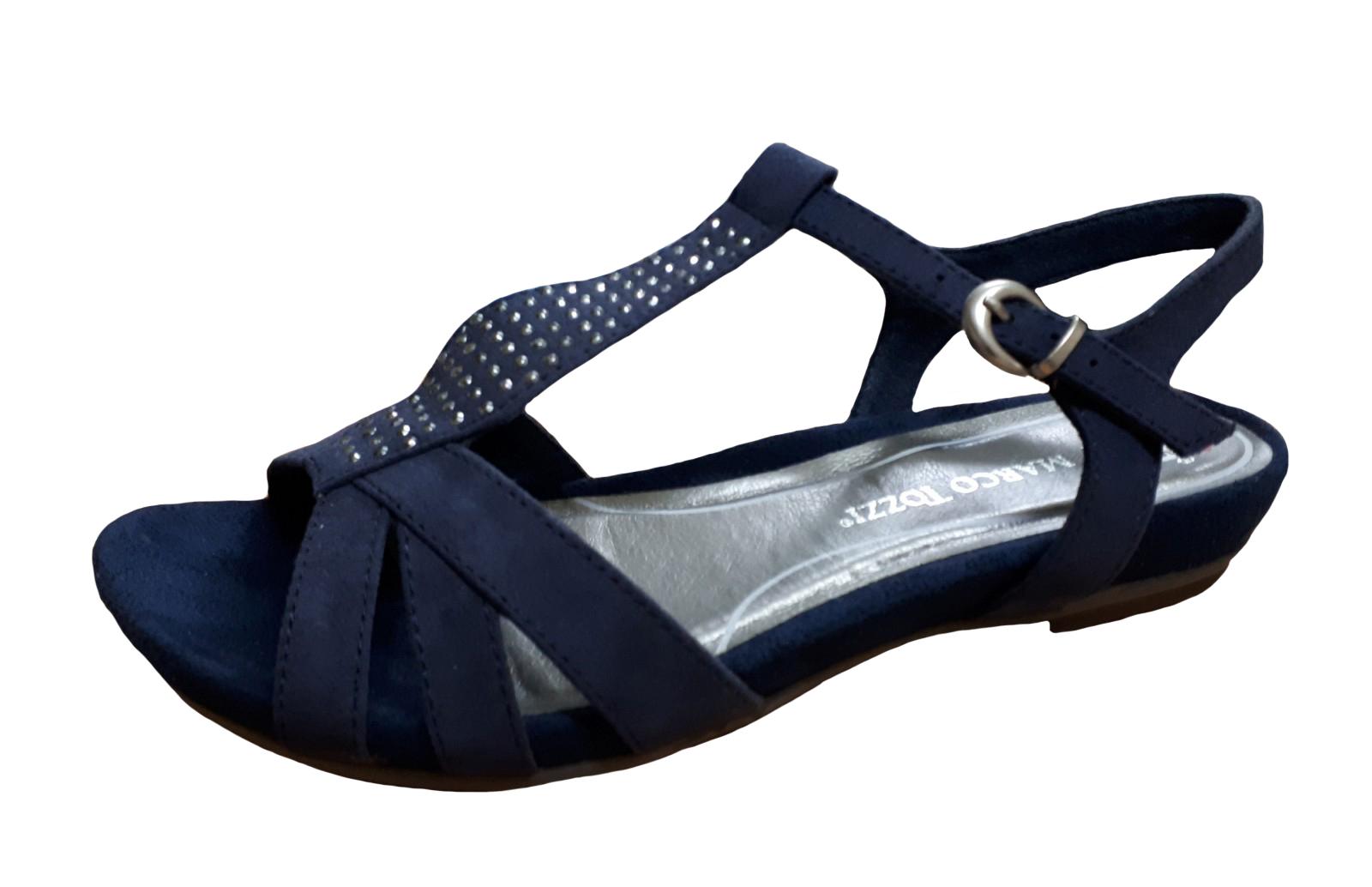 Laufschuhe Verarbeitung finden offizieller Shop Marco Tozzi Damen Sandalette 2-28106-805 blau   Schuhe direkt vom  Schuhhändler