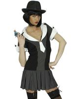 Gangster Kostüm Gangster-Girl - pfiffiges einteiliges Kleid  - 100% Polyester