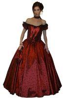 Barock Rokoko Kostüm Kleid Gewand - Tiefrotes Kleid mit Tasche und Halsband  - 100% Polyester