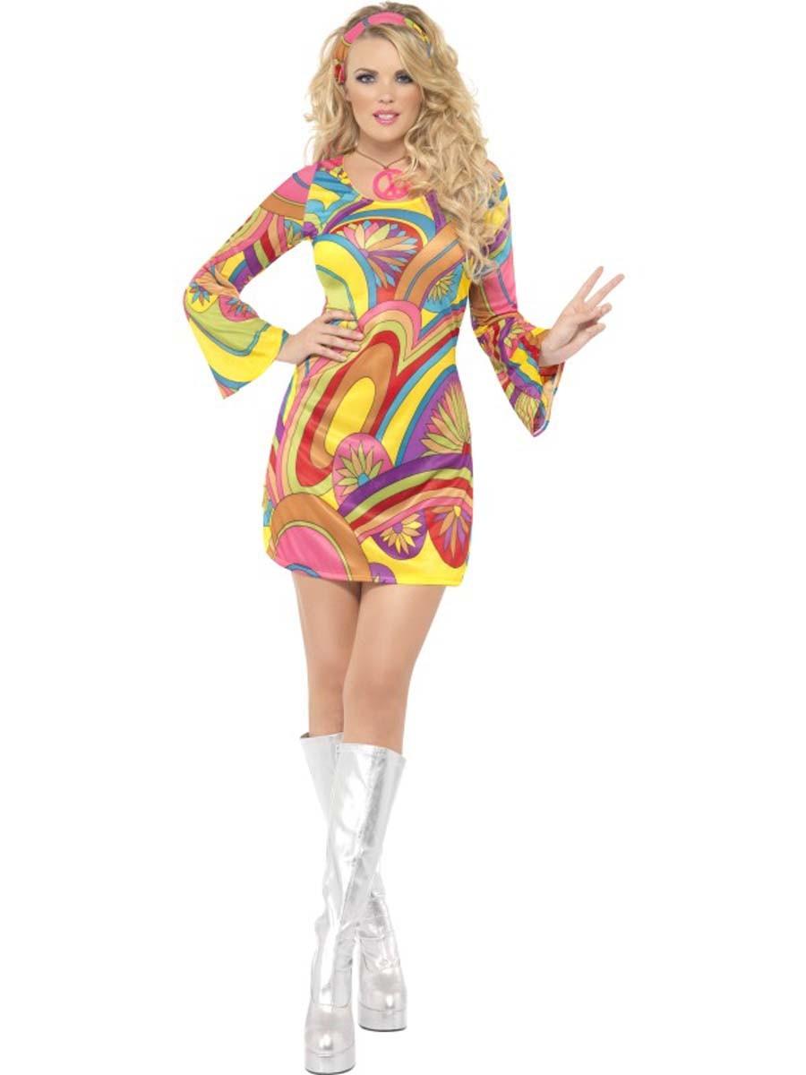 Sexy Hippie Kostum Kleid Faschingskostum 60er 70er Jahre