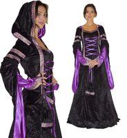 Kostüm Mittelalter Melina bestehend aus Kleid mit angenähter Kapuze und Tasche - 100% Polyester