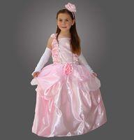 Kostüm Prinzessin Rosenblüte mit weißen Handschuhen und einem Haarreif mit einer großen Rose verziert  - 100% Polyester